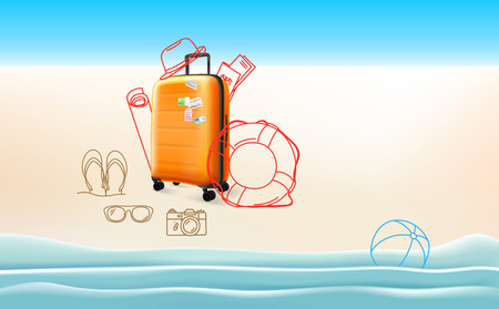 Travel concept with different travelling stuff Illustration