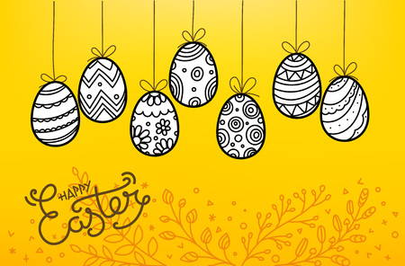 Easter eggs in doodle style. Holiday vector banner. Easter greeting card