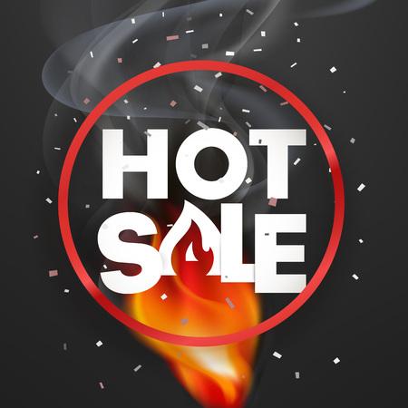 Hote sale vector banner. Photoreal vector illustration. Round label with fire Ilustração