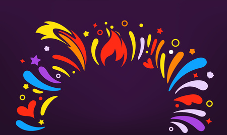 Party flyer frame template. Colorful abstract fireworks. Template for a text