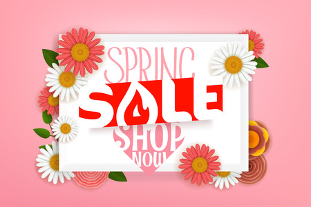 Spring sale advertising banner. Vector lettering shopping banner with flowers Illustration