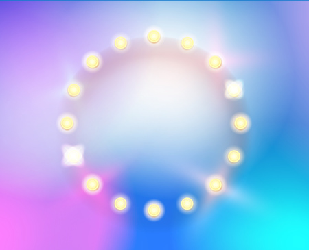 Abstract color trendy background with circle lighting frame