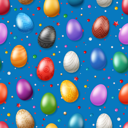 Vector seamless pattern with Easter eggs. Easter holiday background for printing, wrap and wallpapers