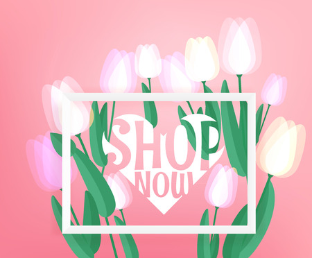 Spring sale advertising banner.  Vector banner with fresh tulips