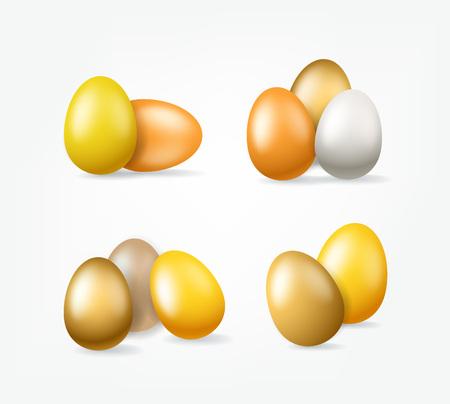 Easter golden eggs clipart isolated on white background Illustration