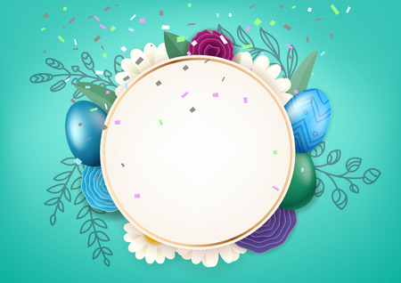 Happy Easter circle frame with decorative elements