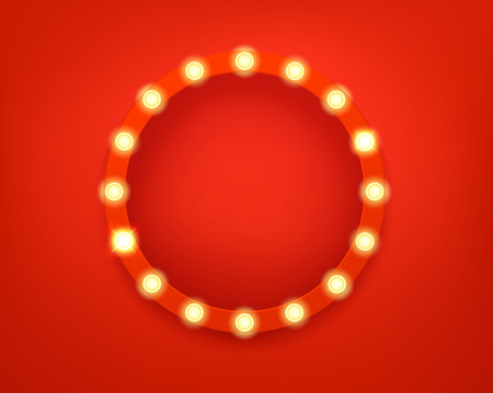 Illuminated circle frame. Bright retro frame template for a text