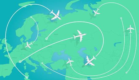 World travel concept. Top view vector illustration