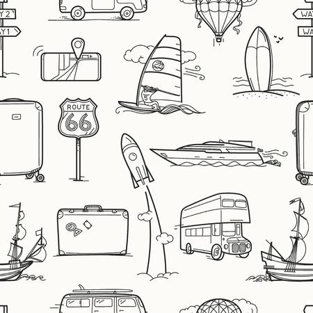 Travel seamless vector background. Vintage style illustration