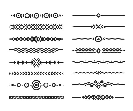 Hand drawn doodle style vector borders elements isolated on white background Çizim