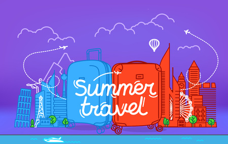 Color plastic suitcases with abstract cityscape with famous sightseengs. Summer travel logo
