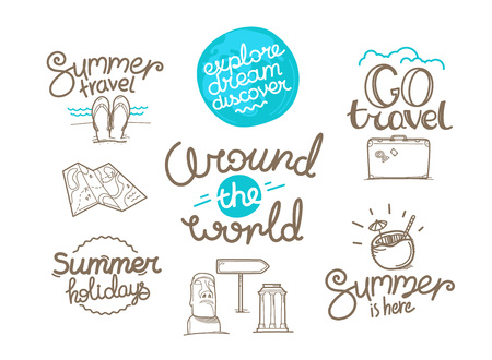 Around the world doodle style isolated on white background. Cute linear elements for web and graphic design. Ilustrace