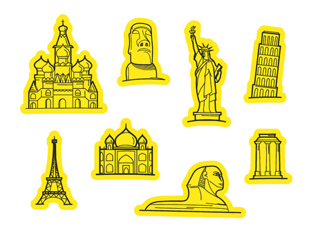 Travel objects vector stickers. Vector stickers set