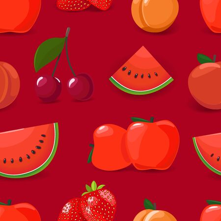 Red seamless pattern with fruits. Vector illustration