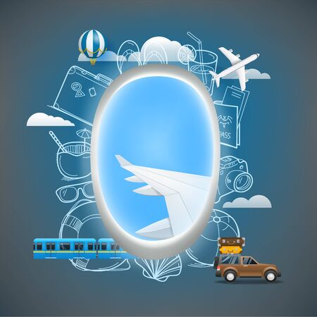Summer travel vector illustration. Travel elements with aircraft window