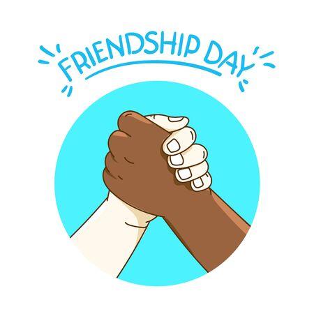 Concept de vecteur de jour de l'amitié avec une poignée de main Vecteurs