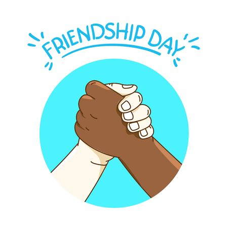 Concetto di vettore del giorno dell'amicizia con la stretta di mano Vettoriali