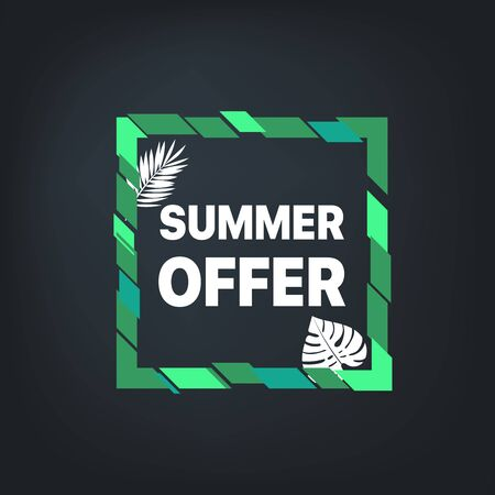Summer sale banner. Vector frame with leaves Stock Illustratie