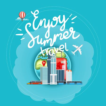 Enjoy summer travel vector concept with calligraphic inscription