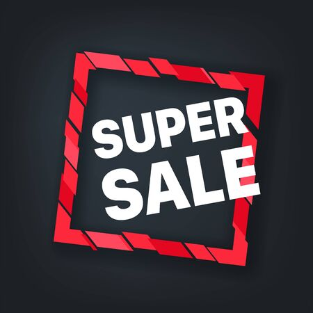 Super sale red frame. Vector banner Stock Illustratie