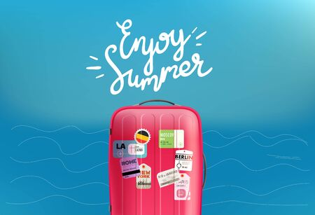 Enjoy summer travel concept with calligraphic logo and red bag Stock Illustratie