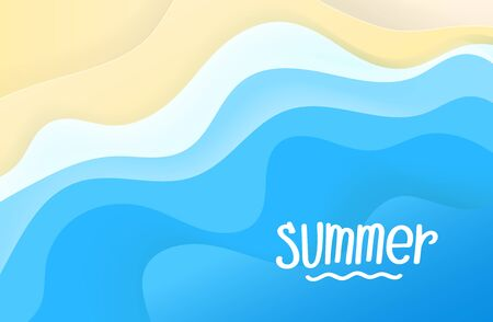 Summer travel concept. Abstract background of blue waves. Vector illustration