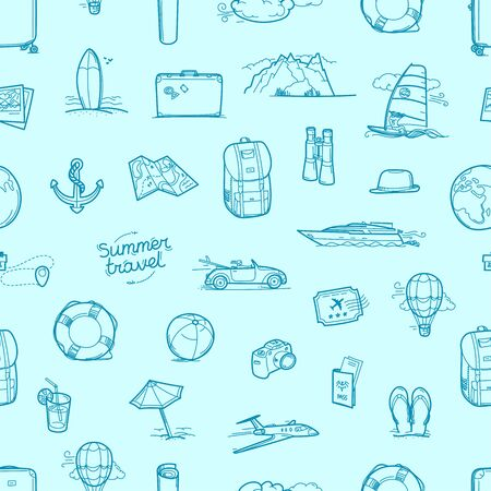 Hand drawn travel doodles seamless vector background