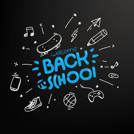 Welcome back to school concept. Vector editable layout