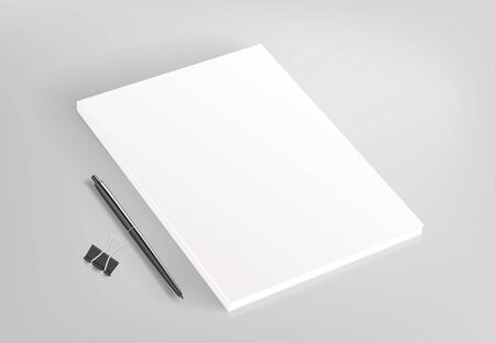 Blank white book and office stationery vector illustration