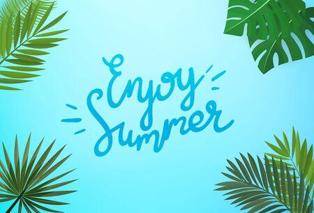 Enjoy summer concept. Floral vector frame with green leaves Illustration