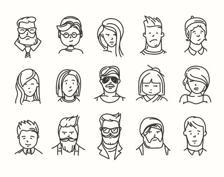 Vector set of different people characters vector set