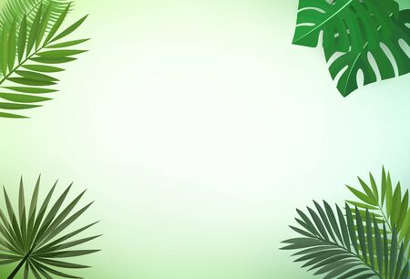 Floral vector frame. Palm leaves vector clip art
