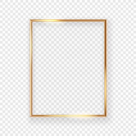 Realistic shining golden picture frame on a wall. Vector illustration Isolated on transparent background