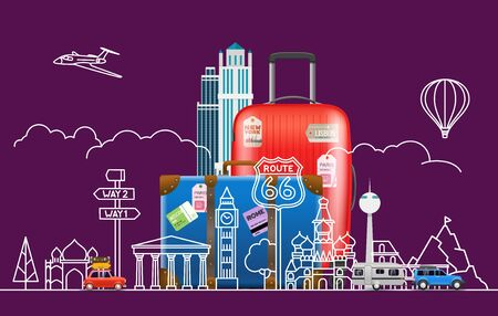 Travel concept. Vector illustration with famous sights and accessories  イラスト・ベクター素材