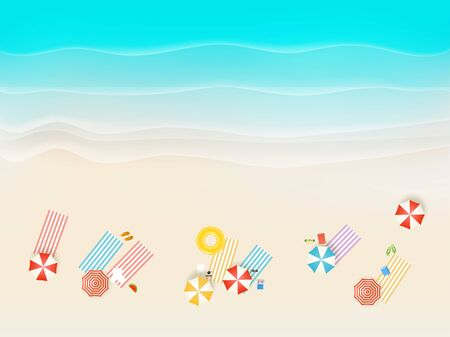 Sandy beach with different accessories. Top view Banque d'images - 129447491