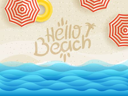 Hello beach vector banner. Sandy beach top view   Stock fotó - 129447738