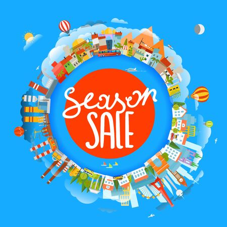 Season sale concept. The Earth and different locations. Travel concept vector illustration