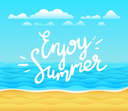 Enjoy summer vector banner. Tropical vector background with calligraphic design