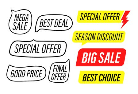Different sale labels clip-art isolated on white background  イラスト・ベクター素材