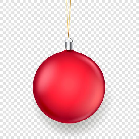 Shining matte red christmas bauble vector illustration isolated on transparent background