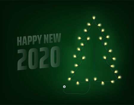 Happy new 2020 year concept. Abstract Christmas tree made from lighting garland