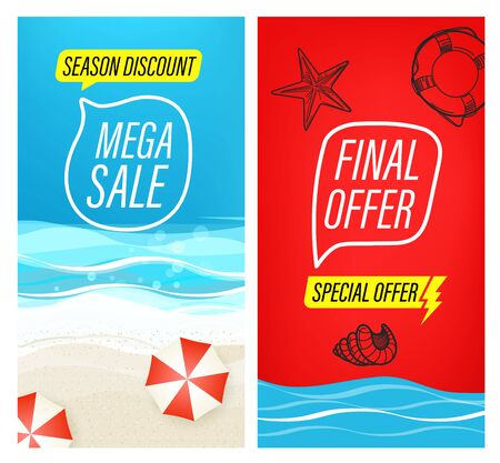 Mega sale special offer. Summer sale banners