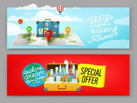 Travel banners template. Advertising vector banners 