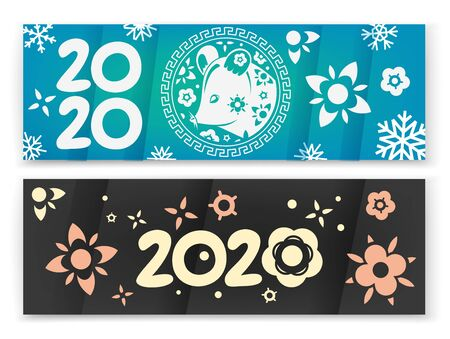Happy chinese new year 2020 vector banners