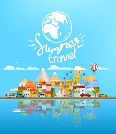 Summer travel illustration Landscape with different vehicles