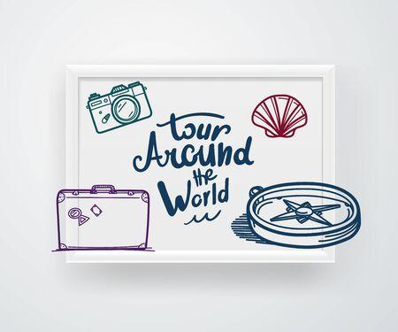Tour around the world concept. Vector illustration