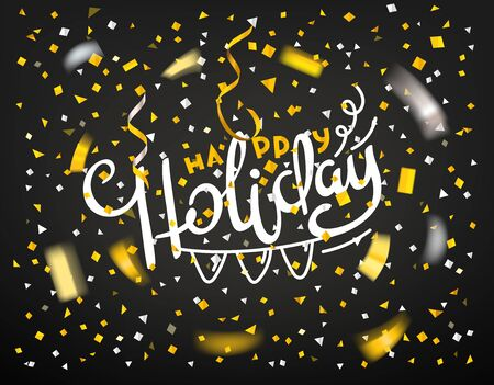 Happy holiday concept. Golden confetti on dark background