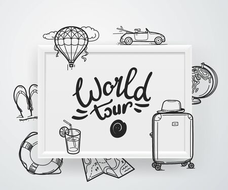 World tour concept. Vector illustration Ilustrace