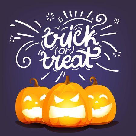 Trick or treat. Happy Halloween greeting card Illusztráció