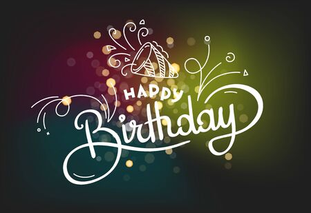 Happy Birthday lettering vector design for greeting cards. Lettering template